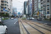 Hiroshima downtown with old tram on electric railway in busy street, Hiroshima, Japan