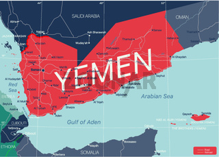 Yemen country detailed editable map