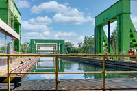 Iron construction of boatlift near German magdeburg with footpath