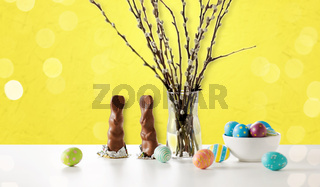 pussy willow, easter eggs and chocolate bunnies