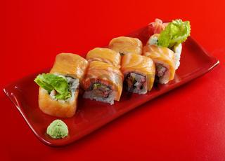 Uramaki. Philadelphia classic.  Japanese sushi