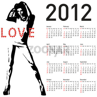 2012 calendar with fashion girl