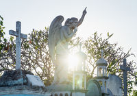 Silence angel on gravestone at the cemetery 'Cementerio General' in Merida, Mexico