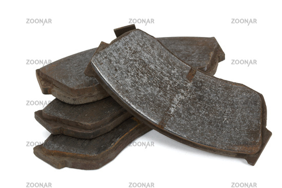 Old brake pads disk brake (isolated)