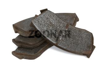 Old brake pads disk brake (isolated)