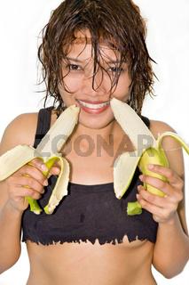 girl holding a banana
