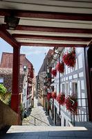 Blick auf Fachwerkhäuser in der Überlinger Altstadt