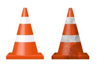 Two Signal Cones Isolated White Background
