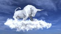 Bull on the cloud in the sky