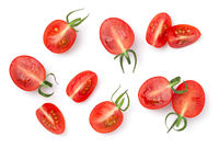 Cut Cherry Tomatoes Isolated On White Background
