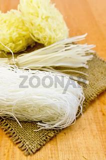 Noodles rice different on burlap