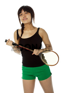 Young Asian woman with a badminton racket