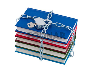 Books chained and closed padlock isolated over white.