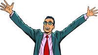 happy businessman hand up gesture