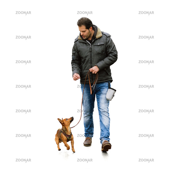 A man and his little dog practicing