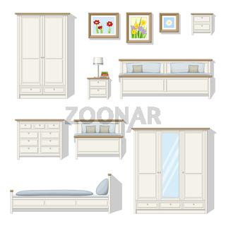 Set of classical bedroom furniture