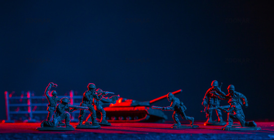 War Concept. Military silhouettes fighting scene  background, World War Soldiers Silhouettes Skyline at night. Attack scene. Armored vehicles. Tanks battle. Decoration