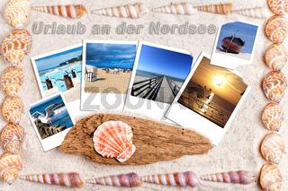 Urlaubsgrüße von der Nordsee mit Fotos und Muscheln