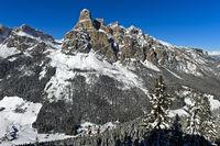 Der Gipfel Sassongher,Corvara, Kurfar, Alta Badia, Dolomiten, Südtirol, Italien