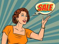 A beautiful pop art woman advertises a sale