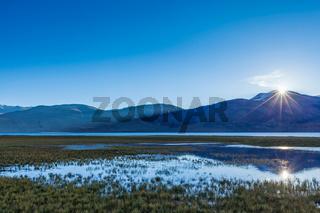 Lake Tso Moriri in Himalayas on sunrise. Ladakh