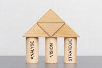 Drei Säulen mit Analyse, Vision und Strategie