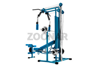 Modern blue sports simulator with black inserts for power load of legs and hands 3d render on an white background no shadow