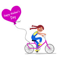 Mother's Day - Cute girl on a bike gives her mother a heart balloon - Greeting card- Handdrawn illustration