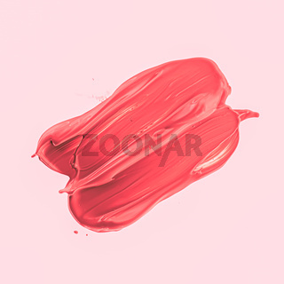 Red brush stroke or makeup smudge closeup, beauty cosmetics and lipstick texture