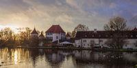 Sunset Panorama of Blutenburg Castle. Obermenzing, near river Wurm, in West of Munich, Upper Bavaria, Germany