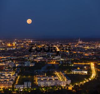Night aerial view of Munich from Olympiaturm (Olympic Tower). Munich