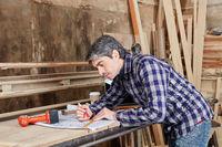 Schreiner mit Bauplan in Werkstatt