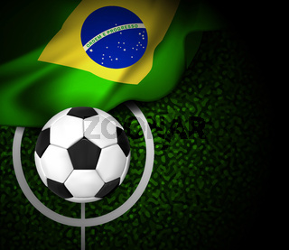 Football field with ball and flag of Brazil