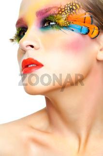 Woman with false feather eyelashes makeup