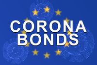 Corona Bonds on EU or European Uinon flag with 3d rendered illustration of virus as background.