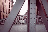 Steel bridge im the Warehouse District or Speicherstadt in Hamburg