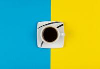 Espresso coffee on a white pot