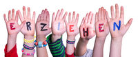 Children Hands Building Word Erziehen Means Educate, Isolated Background