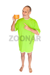 Man drinking a cup of coffee or herbal tea