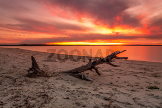 Vivid strong orange and red colours of the sunset across the beach