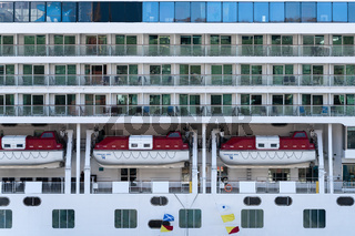Multiple deck of Cruise Liner Norwegian Jewel with lifeboats aboard ship