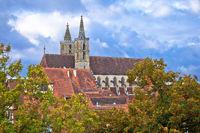Rothenburg ob der Tauber. Cathedral in historic town of Rothenburg ob der Tauber view