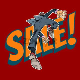 a man runs to a sale