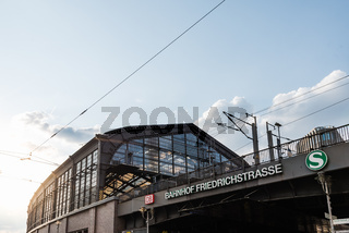 Low angle view of Friedrichstrasse railway station in Berlin