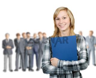 Junge Frau und Geschäftsleute