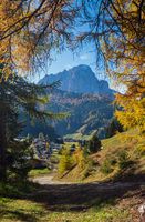 Autumn alpine Dolomites rocky  mountain scene, Sudtirol, Italy. Peaceful view near Wolkenstein in Groden, Selva di Val Gardena.