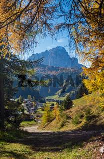 Autumn alpine Dolomites rocky  mountain scene, Sudtirol, Italy. Peaceful view near Wolkenstein in Groden, Selva di Val Gardena.