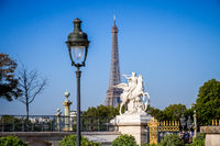 Marble statue and Eiffel Tower view from the Tuileries Garden, Paris