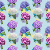 Seamless floral design with hydrangea flowers for background