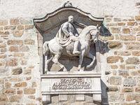Relief von König Albert von Sachsen am Lauenturm in Bautzen, Sachsen, Deutschland